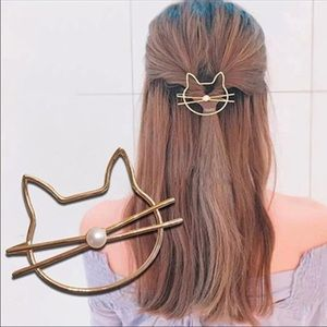 Gold Kitty Cat Hairpin